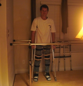 Rusty standing with crutches!